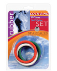 1.5in rubber cock ring set - rainbow pack of 5