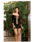 Stretchy semi sheer opaque shoulder mini dress w/lace-up detail and g-strng (wear two ways) blk o/s