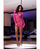 Honeycomb knit dress w/contrasting silver tri top and g-string pink o/s