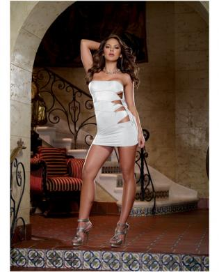 Stretch knit cut out strapless mini dress w/side ties and thong white o/s