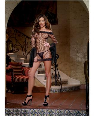 Fence net off shoulder dress w/attached mesh sleeve and thong  black o/s