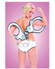 Naughty pet sport panty handcuffs white medium (pasties not in