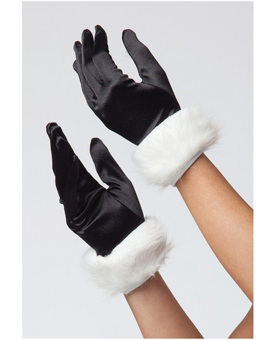 Lycra and faux fur trim gloves black o/s