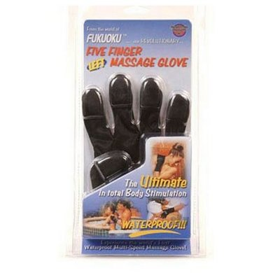 Five Finger Massage Glove - Left Hand Black