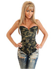 Camo queen burlesque corset w/front busk closure, lace up back and thong camouflage sm