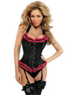 D�butante tie strap burlesque corset w/ruffles, removable garters and thong black small