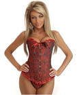 Strapless embroidered corset w/front busk closure, lace up back and thong red sm