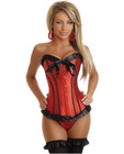 Strapless polka dot corset w/front busk closure and lace up back, thong included blk/red lg