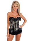 Burlesque zipper corset, thong and black ruffle panties leopard small