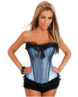 Burlesque bows strapless corset w/front busk closure and lace up back w/ruffle thong blue sm