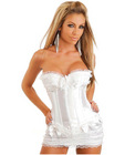 Burlesque corset w/bows, hidden side hook and eye closure, lace up back, thong and skirt white md