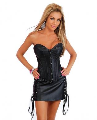 Strapless leather corset w/front busk closure, lace up back, thong and leather skirt black 3x/4x