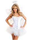 4 pc sexy angel corset, pettiskirt, thong, wings and halo white x large