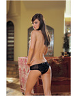 Stretch lace open crotch low rise short w/ruffled lace back detail black sm