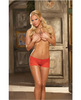 Lace-up short stretch lace open crotch short w/lace-up back red large