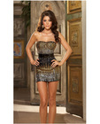 Hanging unique ombre sequin strapless dress, belt, and thong black small