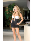 Hanging microfiber shirred front halter dress w/center front rhinestone black/white medium