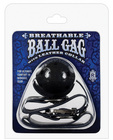 Breathable ball gag w/black collar - black