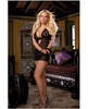Diamond seduction chiffon chemise w/skull print, thong, and satin tie black o/s