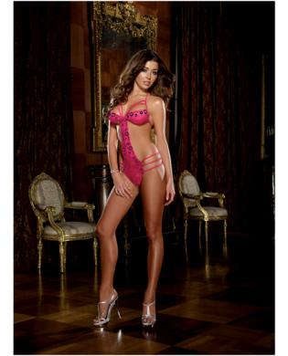 Diamond seduction stretch cross dyed lace teddie fuchsia o/s