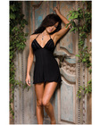 Diamond seduction spandex stretch halter babydoll and thong black o/s