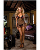 Diamond seduction fishnet chemise w/open crotch thong black qn