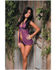 Diamond seduction sheer mesh babydoll and thong purple o/s
