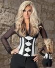 Satin and bow lace waist cincher soft ivory/black 36