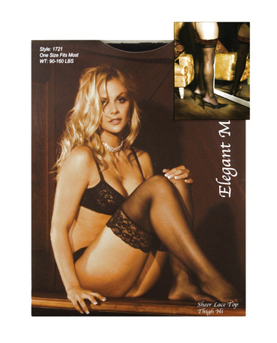 Sheer lace top thigh high black o/s Sex Toy Product