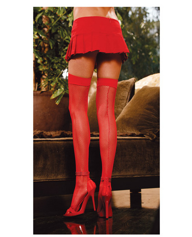 Fishnet thigh high w/back seam red o/s