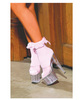 Nylon anklet w/ruffle and satin bow pink o/s