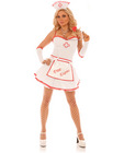 5 pc free exams dress w/light up free exams apron, head piece, gloves and stethoscope white sm