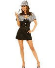 4 pc sassy detective dress, cape, hat and pipe black sm