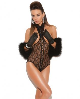 Vivace lace cupless teddy w/lace up front and open back black o/s