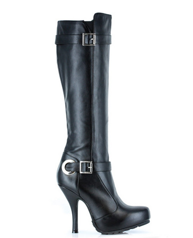 Ellie shoes anarchy 4in heel boot w/zipper black six