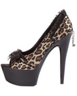 Ellie shoes jezebel 6in steletto w/2in platform satin and lace leopard ten