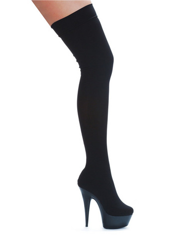 Ellie shoes ski 6in w/2in platform boot w/stretch lycra black eight Sex Toy Product
