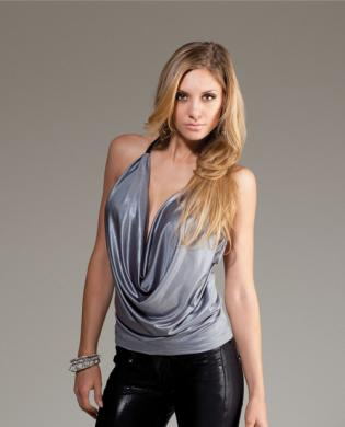 Forplay club bordeaux sexy top w/plunging cowl neck and adjustable zipper racer back grey sm