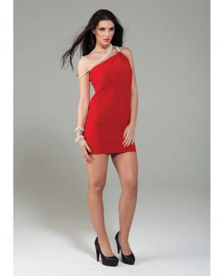 Forplay club monroe greek inspired mini dress w/one shoulder rhinestone red sm