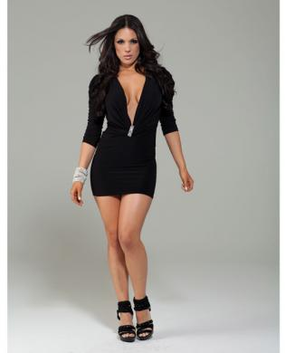 Forplay club franklin mini dress w/plunging neck line and rhinestone broach black sm