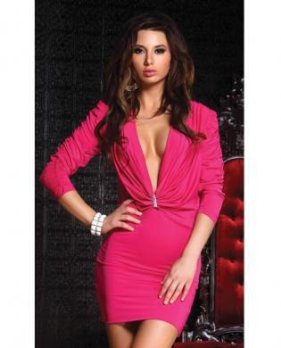 Low cut charm dress hot pink sm