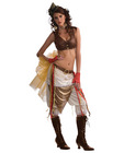 3 pc steampunk showgirl top, skirt w/attached belt and sheer netting& pantaloons brown o/s
