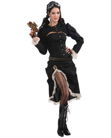 3 pc steampunk renegade jacket, corset and skirt black o/s
