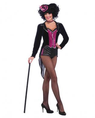 2 pc burlesque show stopper tail coat w/attached vest and hot pants black/hot pink o/s