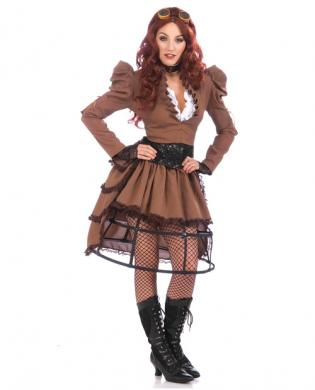 4 pc steampunk vickie ruffled top, jacket, corset belt and skirt brown o/s