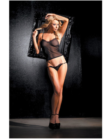 Stretch mesh cami and g-string set w/gold hardware accents black o/s