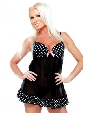 Underwire babydoll w/polka dot detail and g-string black m/l