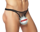 Male power stretch net pouch thong black l/xl