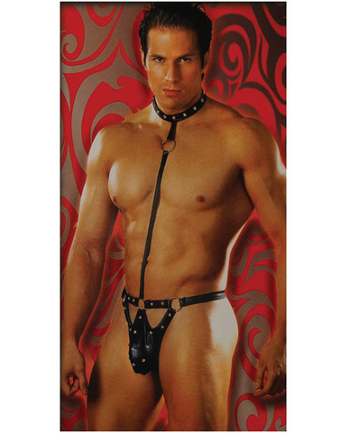 Male power fetish tormentor w/attached studded jouster thong and collar black l/xl