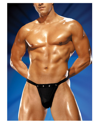 Male power rip off thong w/studs black l/xl Sex Toy Product